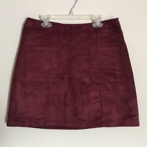 Deep Burgundy Double Pocket Mini Skirt Sz 8